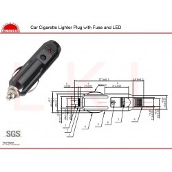 CAR CIGARETTE LIGHTER PLUG WITH FUSE AND LED